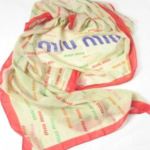 "Miu Miu 60"" Silk Scarf Wrap Beige & Red"